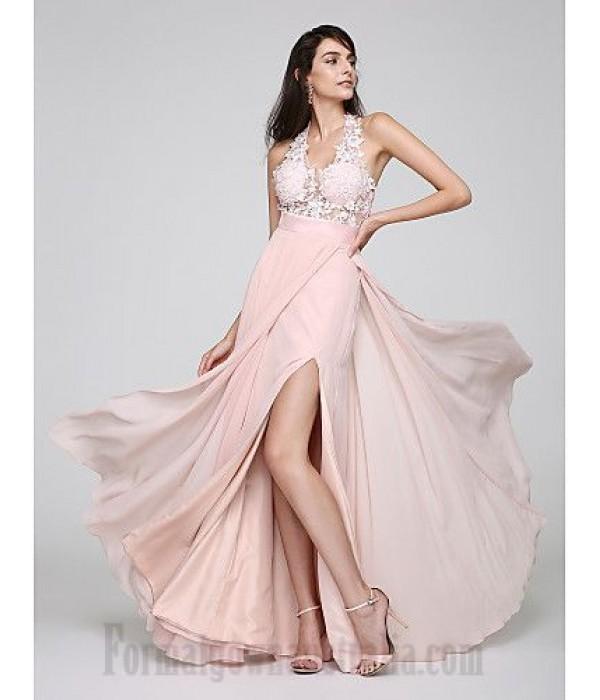Australia A-Line V-Neck Lace-Up Pearl Pink Side Slit Formal Dress Party Dress New