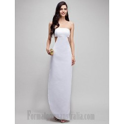 Elegant Floor Length White Strapless Low Back Formal Dress Prom Dress