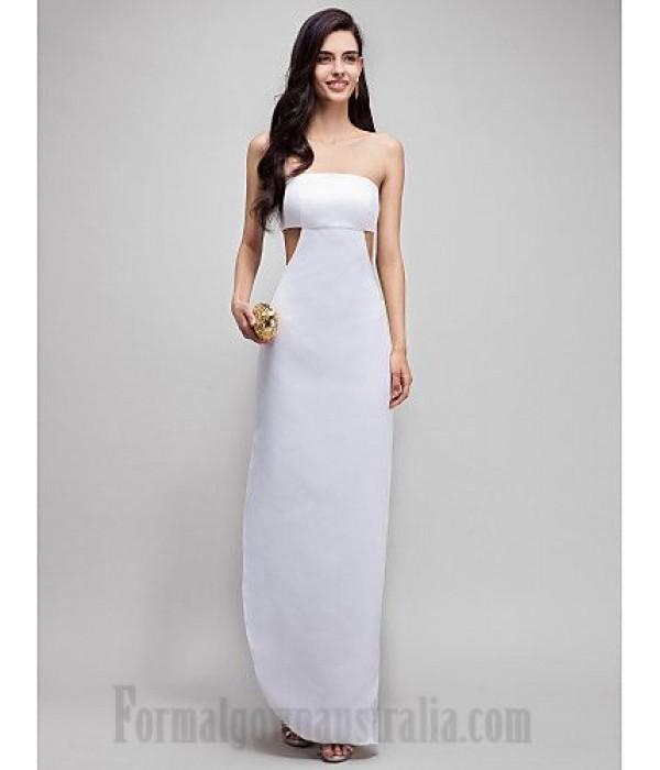 Elegant Floor Length White Strapless Low Back Formal Dress Prom Dress New
