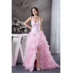 Australia Formal Dress Evening Gowns Prom Gowns Military Ball Dress Pink Petite A-line Halter Long Floor-length Organza New