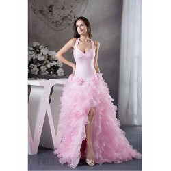 Australia Formal Evening Dress Prom Gowns Military Ball Dress Pink  Petite A-line Halter Long Floor-length Organza