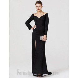 Mermaid/Trumpet Y-Neck Sweep/Brush Train Long Sleeves Front Slit Black Satin Formal Dress Prom Dress