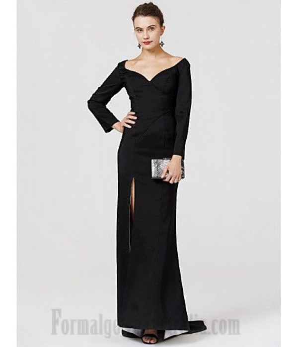 Mermaid/Trumpet Y-Neck Sweep/Brush Train Long Sleeves Front Slit Black Satin Formal Dress Prom Dress New