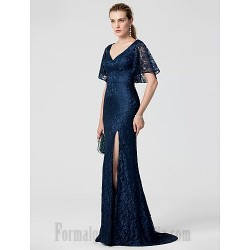 Mermaid/Trumpet V-Neck Blue Lace Appliques Short Sleeves Formal Dress Evening Gowns With Side Slit