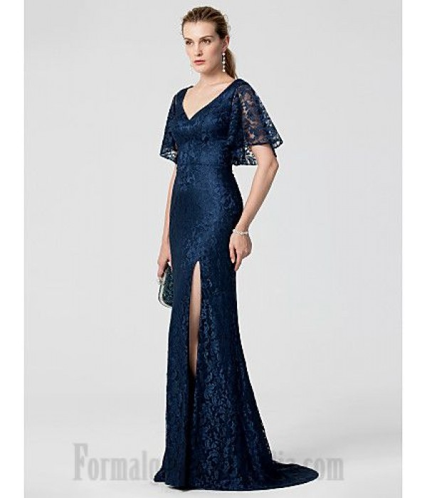 Mermaid/Trumpet V-Neck Blue Lace Appliques Short Sleeves Formal Dress Evening Gowns With Side Slit New