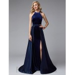 A-Line Boat Neck Long Royal Blue Satin Formal Dress Evening Gown PartyDress With Slit New
