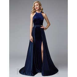 A-Line Boat Neck Long Royal Blue Satin Formal Dress Evening Gown PartyDress With Slit