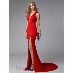 Mermaid/Trumpet Deep V-Neck Sweep/Brush Train Red Side Slit Formal Dress Evening Dress