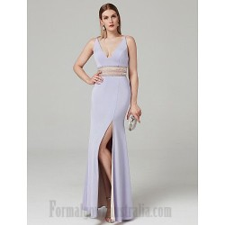 Sheath/Column V-Neck Floor-Length V-Back Formal Party Dress With Beading/Slit