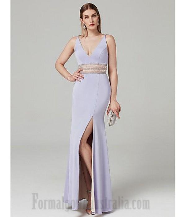 Sheath/Column V-Neck Floor-Length V-Back Formal Dress Party Dress With Beading/Slit New