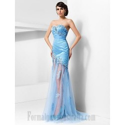 Sheath/Column Sweetheart Neckline Long Sky Blue Tull/Lace Formal Evening Dress With Appliques/Sequins