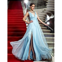 Ball Gown Floor Length Deep V Neck Formal Dress Evening Gowns With Zipper Ruched Sashes Slit