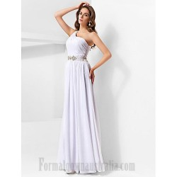 A Line Floor Length One Shoulder Side Slit Formal Dress Evening Gown Partydress With Sparkling Waist Ruched