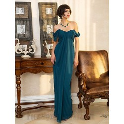 Sheath/Column Floor Length Dark Green Chiffon Prom Dress Zipper-up Off The Shoulder Formal Evening Dress