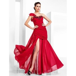 Ball Gown Floor Length Red Lace Over Tulle One Shoulder Formal Evening/Party Dress With Slit/Beading/Ruched