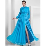 Floor Length Blue Tulle Long Sleeves Wear a Bow Around Your Neck Formal Dress Evening Gowns With Slit/Beading New