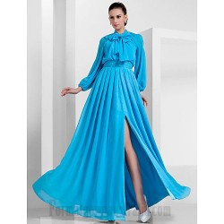 Floor Length Blue Tulle Long Sleeves Wear a Bow Around Your Neck Formal Dress Evening Gowns With Slit/Beading