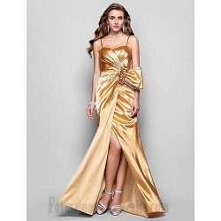 Sheath Column Gold Charmeuse Cocktail Party Dress Spaghetti Straps Handmade Stereoscopic Flowers Zipper Up Formal Dress Evening Gowns With Slit Sequined