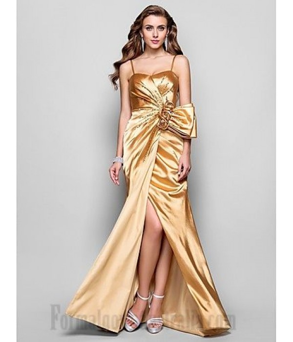 Sheath/Column Gold Charmeuse Cocktail/Party Dress Spaghetti Straps Handmade Stereoscopic Flowers Zipper-up Formal Dress Evening Gowns With Slit/Sequined New