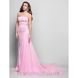 Sheath Column Strapless Pink Chiffon Sweep Brush Train Zipper Up Formal Dress Evening Prom Dress With Slit Beading