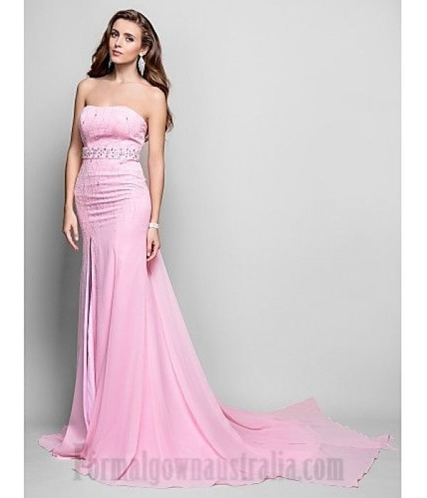 Sheath/Column Strapless Pink Chiffon Sweep/Brush Train Zipper-up Formal Dress Evening/Prom Dress With Slit/Beading New