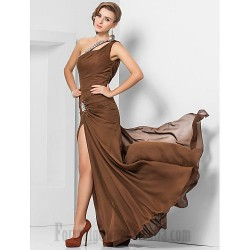 Sheath/Column Floor Length Coffee Chiffon Cocktail/Party Dress One The Shoulder Formal Evening Dress With Slit/Beading