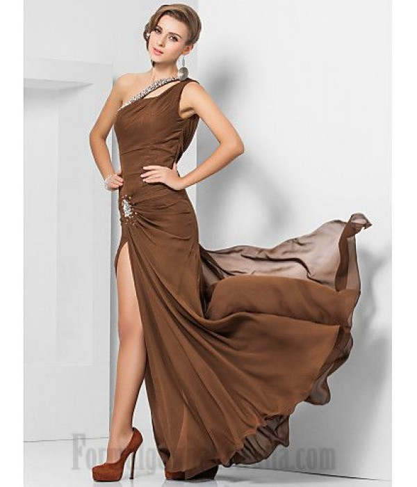 Sheath/Column Floor Length Coffee Chiffon Cocktail/Party Dress One The Shoulder Formal Dress Evening Gowns With Slit/Beading New