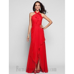 Sheath Column Floor Length Red Chiffon Zipper Up Halter Neck Formal Dress Evening Party Prom Dress