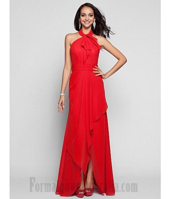 Sheath/Column Floor Length Red Chiffon Zipper-up Halter-neck Formal Dress Evening/Party/Prom Dress New
