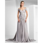 Ball Gown Off The Shoulder Silver Chiffon Zipper-up Formal Dress Evening Gown PartyDress With Slit/Beading New