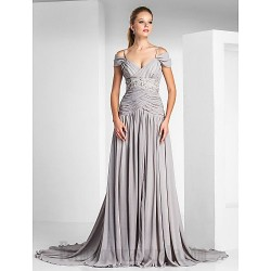 Ball Gown Off The Shoulder Silver Chiffon Zipper-up Formal Dress Evening Gown PartyDress With Slit/Beading