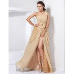 A-line Floor Length One The Shoulder Chiffon Formal Dress Evening/Party/Prom Dress With Slit/Ruched New