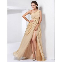 A Line Floor Length One The Shoulder Chiffon Formal Dress Evening Party Prom Dress With Slit Ruched