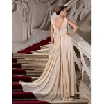Ball Gown V-neck Ivory Chiffon Formal Evening/Party Dress With Slit/Ruched New