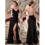 Sheath/Column Sequined Sparkle Shine Black Dress Open Back V-Neck Side Slit Formal Dress Party Dress New