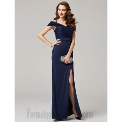 A Line Sequins Floor Length Blue Chiffon Formal Dress Zipper Back Spaghetti Straps Side Slit Prom Dress