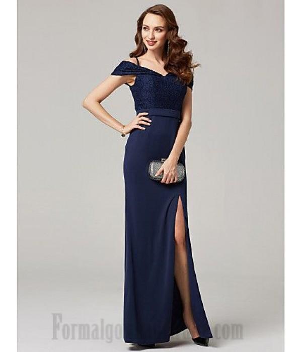 A-Line Sequins Floor Length Blue Chiffon Formal Dress Zipper Back Spaghetti Straps Side Slit Prom Dress New
