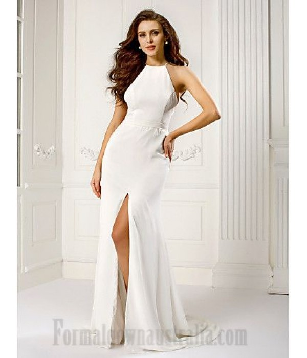 Mermaid/Trumpet Elegant White Chiffon Sweep/Brush Train Zipper Back Formal Dress Evening/Cocktail Dress With Slit New