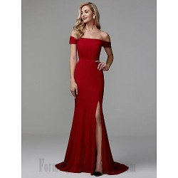 Mermaid/Trumpet Off The Shoulder Sweep/Brush Train Red Side Slit Zipper Back Formal Evening Dress