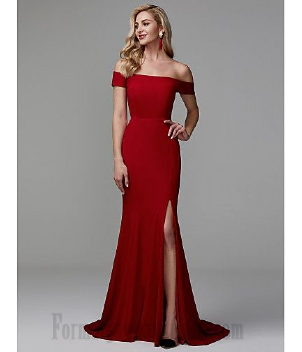 Mermaid/Trumpet Off The Shoulder Sweep/Brush Train Red Side Slit Zipper Back Formal Dress Evening Gowns New