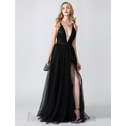 Floor Length  Deep V-Neck Evening Dress  Criss Cross Back Black Tulle Side Slit Formal Party Dress