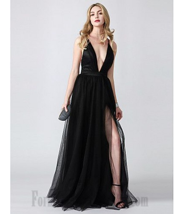 Floor Length Deep V-Neck Evening Dress Criss Cross Back Black Tulle Side Slit Formal Dress Party Dress New