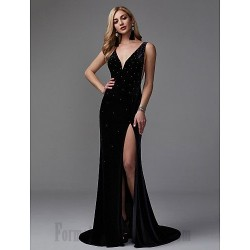 Mermaid/Trumpet V-Neck Black Long Party Dress V-Back Side Slit Formal Dress Prom With Sequins