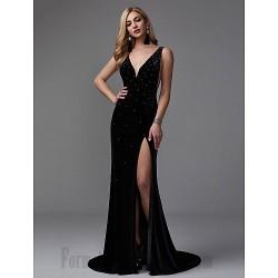 Mermaid Trumpet V Neck Black Long Party Dress V Back Side Slit Formal Dress Prom With Sequins