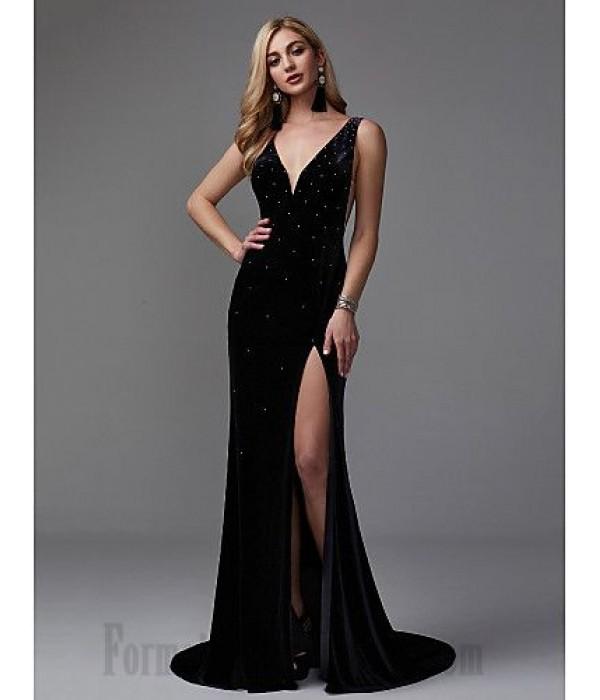Mermaid/Trumpet V-Neck Black Long Party Dress V-Back Side Slit Formal Dress Prom With Sequins New