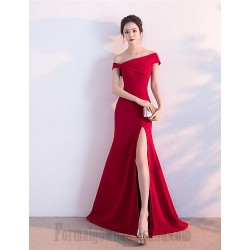 A-Line Floor Length Off The Shoulder Red Satin Side Slit Formal Evening Dress