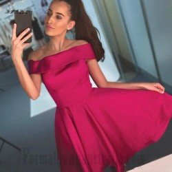 Australia Knee Length Rosy Satin Off The Shoulder Semi Formal Dress