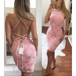 Sexy Sheath Column Short Pink Lace-Up Buttocks Cocktail Dress Party Dress New