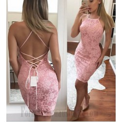 Sexy Sheath Column Short Pink Lace-Up Buttocks Cocktail Party Dress