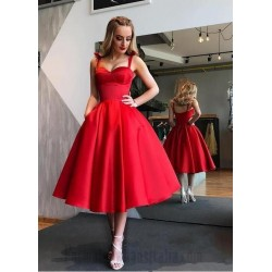 Queen Anne Tea Length Red Satin  Formal Cocktail/Party Dress